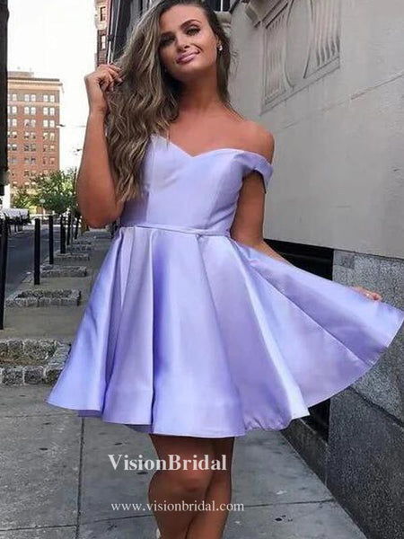 Popular Off Shoulder A-Line Homecoming Dresses, Simple Homecoming Dresses, VB02572