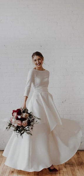 Elegant Bateau Neckline Long Sleeve Asymmetrical Wedding Dresses Simple Wedding Dresses Vb02401