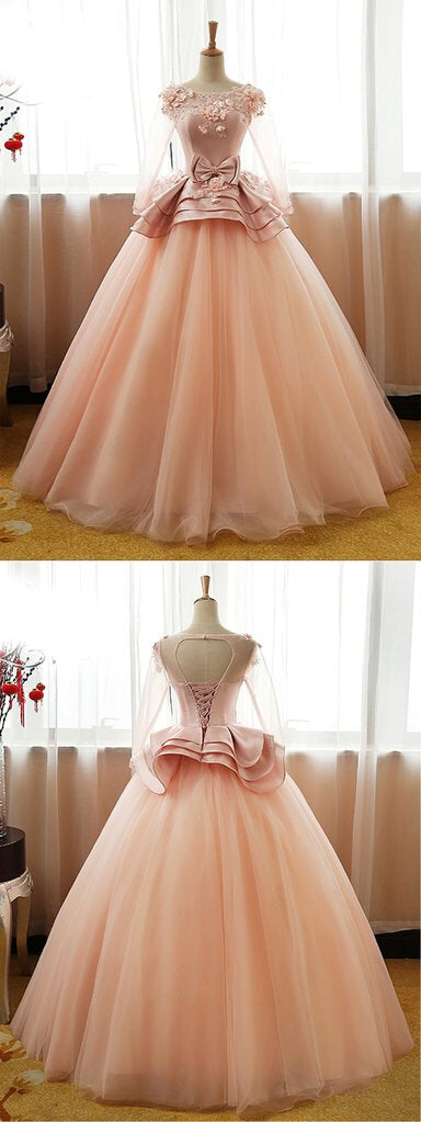 Round Neck Applique Prom Dress With Bow knot, Long Sleeves Satin Top Ball Gown Prom Dress, VB0233 - Visionbridal