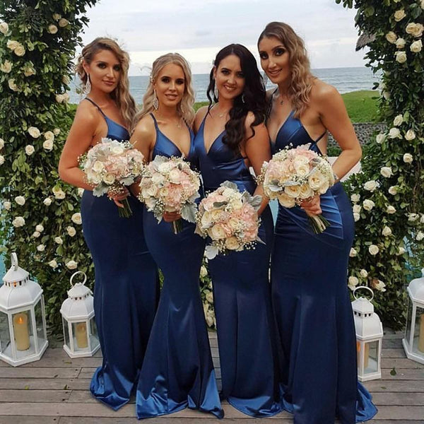 2018 Blue Mermaid V Neck Custom Long Bridesmaid Dresses, Bridesmaid Dresses, VB01161