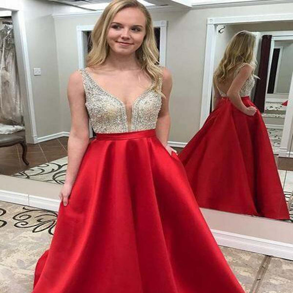 16f021e5 Sparkly Red V-Neck Top Beaded Open Back Long A-Line Satin Prom Dresses