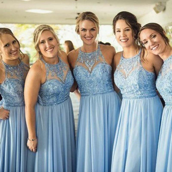 Alluring Blue Illusion Top Beaded Long A-Line Chiffon Bridesmaid Dresses, 2019 Bridesmaid Dresses, VB01947
