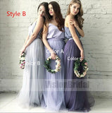 Cheap Two Piece Round Neck Long Light Blue Grey Silver Purple Lilac Tulle With Top Lace Bridesmaid Dresses, Bridesmaid Dresses, VB0707