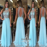 Sparkly Blue High Neck Open Back Sleeveless With Beaded Long Chiffon Prom Dress, Charming Prom Dress, VB0553 - Visionbridal