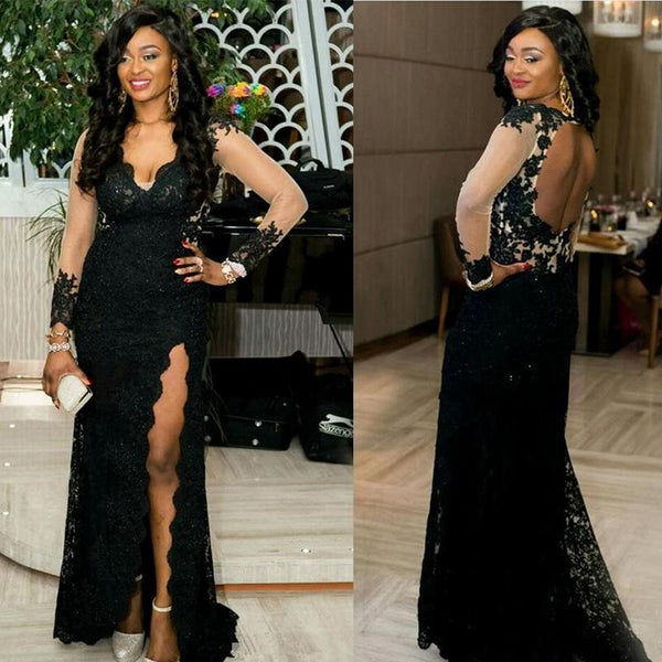 d146773b8f2 Sexy Black V-Neck Long Sleeve Open Back Long Mermaid Lace Prom Dresses