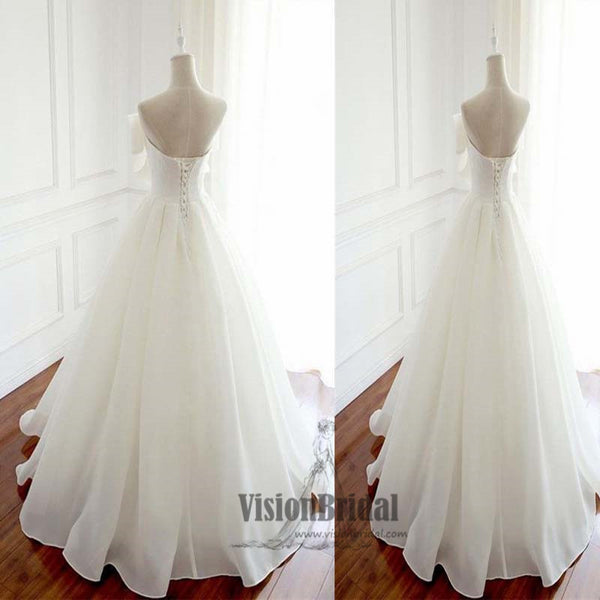 Lovely White Simple A-Line Floor-Length Wedding Dress, Wedding Dress, VB0655