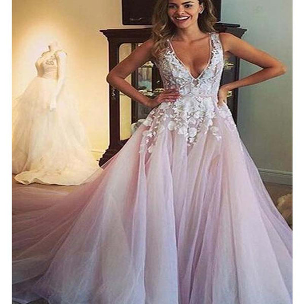 d2d64d6a29ee03 Elegant Deep V-Neck Long A-Line Tulle Prom Dresses With Appliques, Sexy