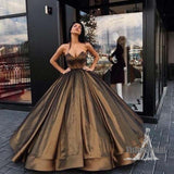 Gorgeous Sweetheart Sleeveless Satin Ball Gown With Beaded, Charming Long A-Line Prom Dress, Prom Dress, VB0564