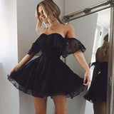 Elegant Black Off Shoulder Lace A-Line Homecoming Dresses, Graduation Homecoming Dresses, VB02099