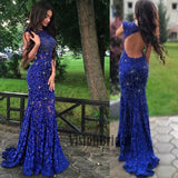 Bateau Royal Blue Lace Beading Open Back Cap Sleeves Long Prom Dress, Sexy Mermaid Side Slit Prom Dress, VB0424 - Visionbridal