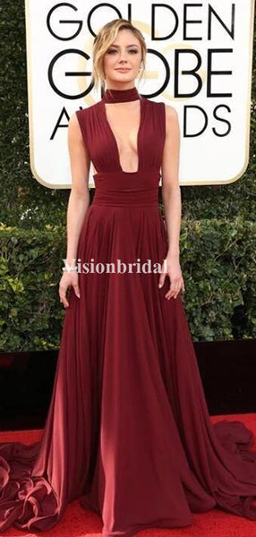 Alluring Burgundy Deep V-Neck Long A-Line Prom Dresses, VB03269