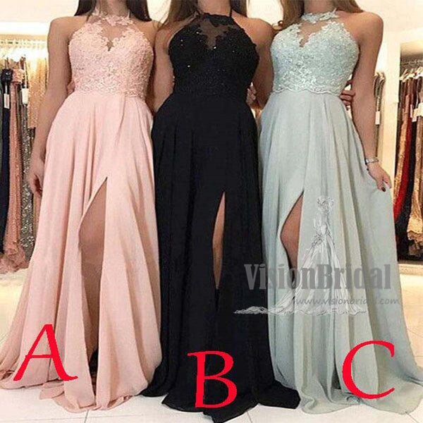 Unique Halter Lace Appliques Long Chiffon Side Slit Bridesmaid Dresses, Bridesmaid Dresses, VB0622