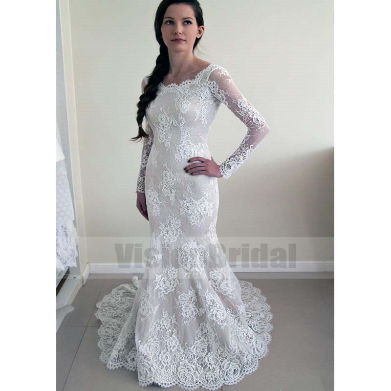 Alluring Scoop Neckline Long Sleeves Lace Mermaid Wedding Dress ...