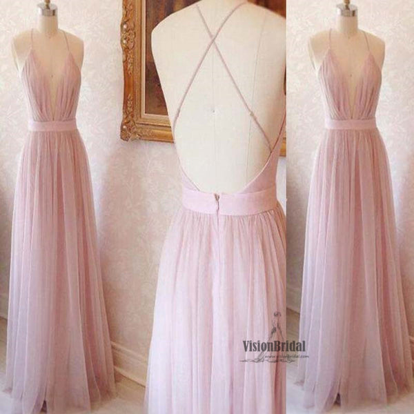 Pink Spaghetti Straps Deep V-Neck Crisscross Back A-Line Long Prom Dress, Sexy Prom Dress, VB0487 - Visionbridal