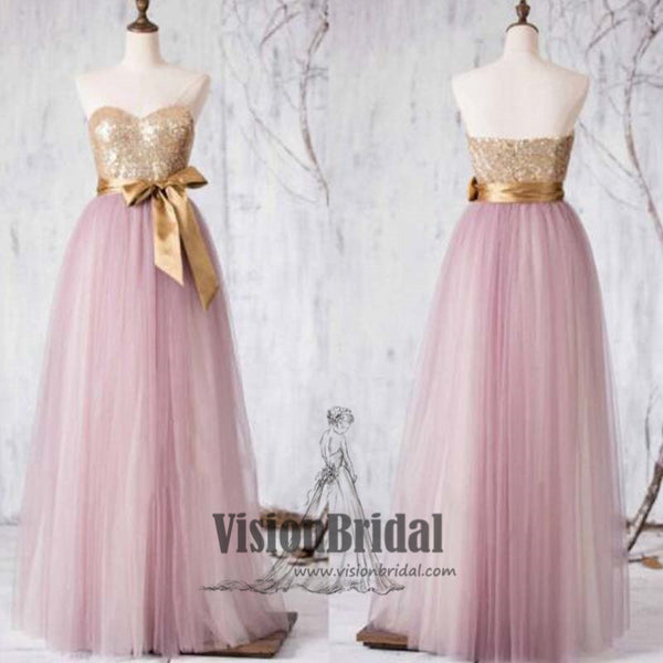2018 Newest Pink Sweetheart Top Sequin A-Line Floor Length Bridesmaid Dress With Ribbon, VB0393 - Visionbridal