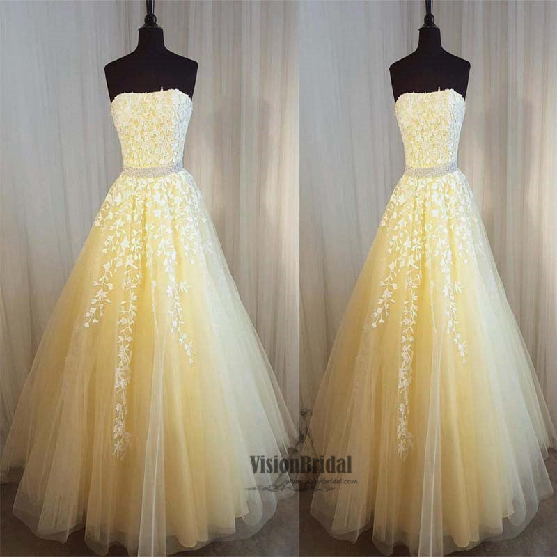 Unique Yellow Straight Neckline With Lace Appliques Beading Long ...