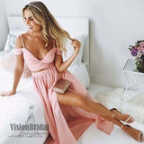 Sexy Pink Off The Shoulder Spaghetti Straps Side Slit A-Line Long Chiffon Prom Dress, Charming Two Pieces Prom Dress, VB0559 - Visionbridal