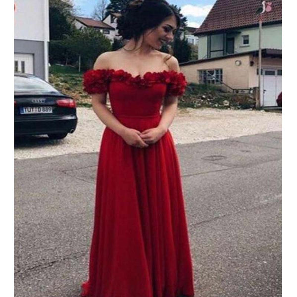 a16db8ad16134 Simple Red Off Shoulder Long A-Line Prom Dresses, Party Dresses, VB01753