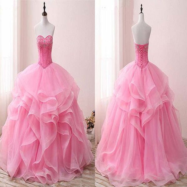 Peachy Pink Sweetheart Lace Up Ruffle Ball Gown, Princess Beading Prom Dress, Prom Dresses, VB0288 - Visionbridal
