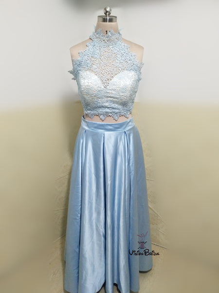 Beautiful Halter Lace Top A-Line Satin Long Prom Dress, Prom Dresses, VB0422