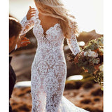 Sexy V-Neck Long Sleeve Long Lace Mermaid Wedding Dresses, Wedding Dresses, VB01483
