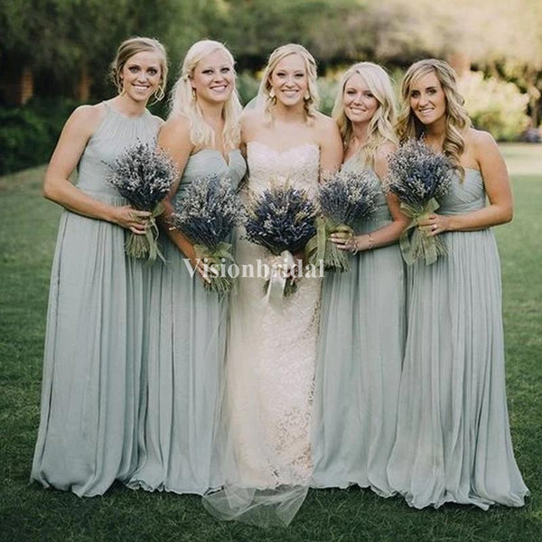 Mint Green Different Styles A-Line Chiffon Bridesmaid Dresses, VB03726