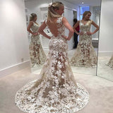 Alluring V-Back Long Mermaid Lace Wedding Dresses, Wedding Dresses With Trailing, VB01630