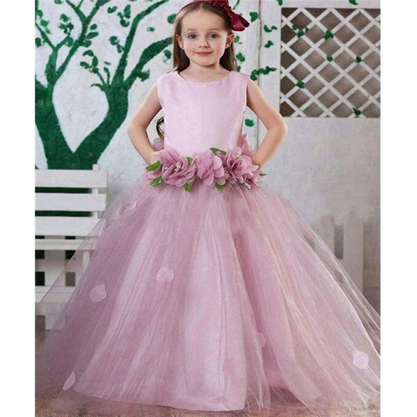 77bdf1a94d030 Princess Light Purple Scoop Neckline Top Satin Long A-Line Tulle Flower  Girl Dresses With