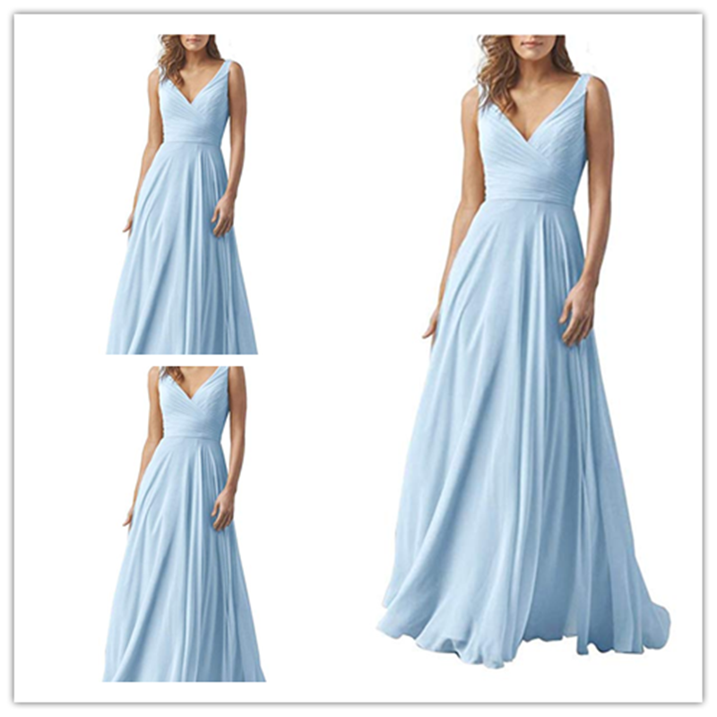 Double V-Neck Sky Blue Elegant Long Bridesmaid Dress Chiffon Wedding Evening Dress, Bridesmaid Dresses, VB0456
