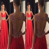 Elegant Red V-Neck Open Back With Rhinestones A-Line Chiffon Prom dress, Prom Dress, VB0509 - Visionbridal
