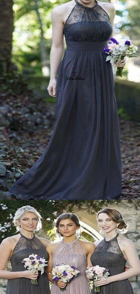 Charming Halter Lace Top Long A-Line Chiffon Bridesmaid Dresses, Simple Bridesmaid Dresses, VB01716