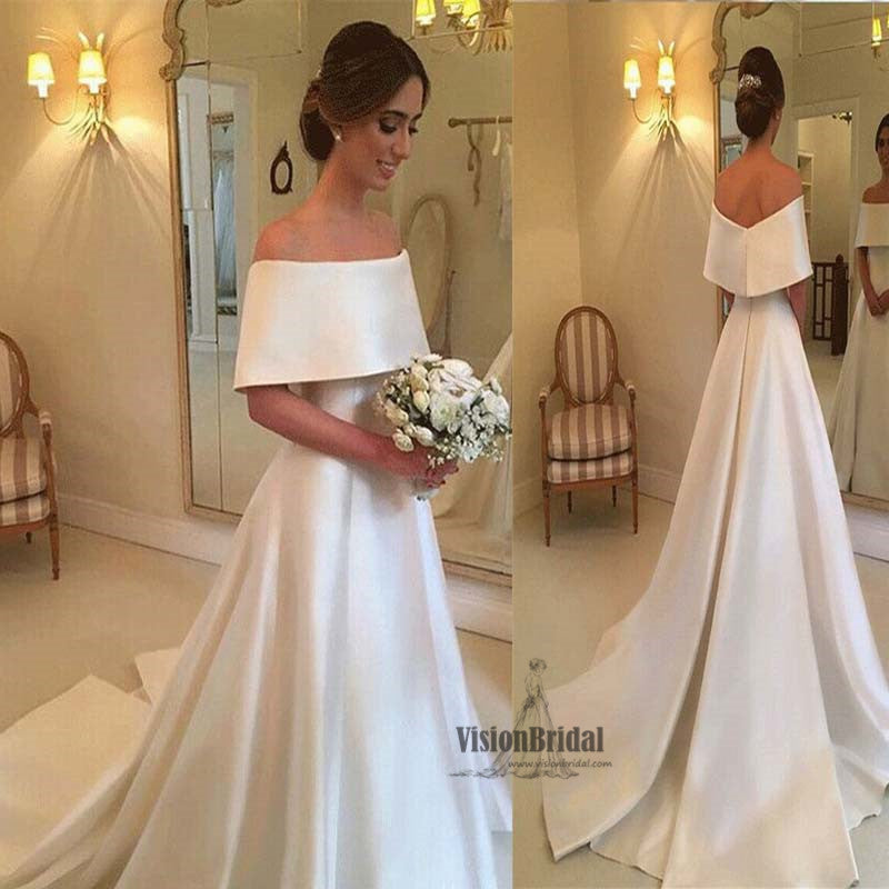 Elegant Off Shoulder Satin Long Wedding Dress, Charming Wedding Dress,Wedding Dress, VB0699