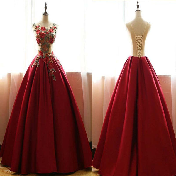 Red  Scoop Neckline Lace Up A-Line Satin Prom Dress, Beautiful flower applique Floor Length Prom Dress, Prom Dresses, VB0264 - Visionbridal