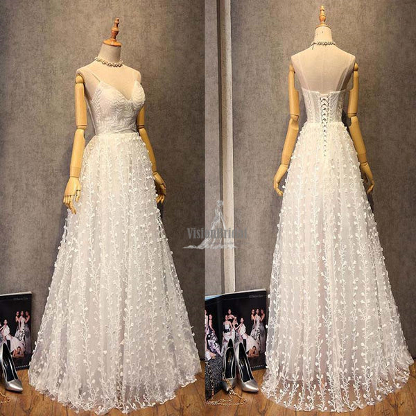 Unique Eye-Catcher Spaghetti Straps V-Neck Lace Up 3D Floral A-Line Long Prom Dress, Prom Dress, VB0533 - Visionbridal