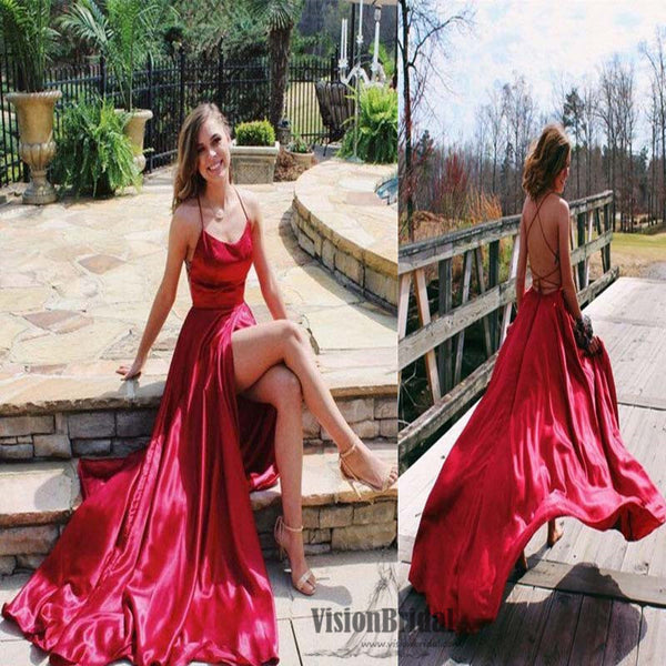 Sexy Spaghetti Straps Crisscross Back Front Slit A-Line Floor Length Prom Dress, Prom Dress, VB0497 - Visionbridal