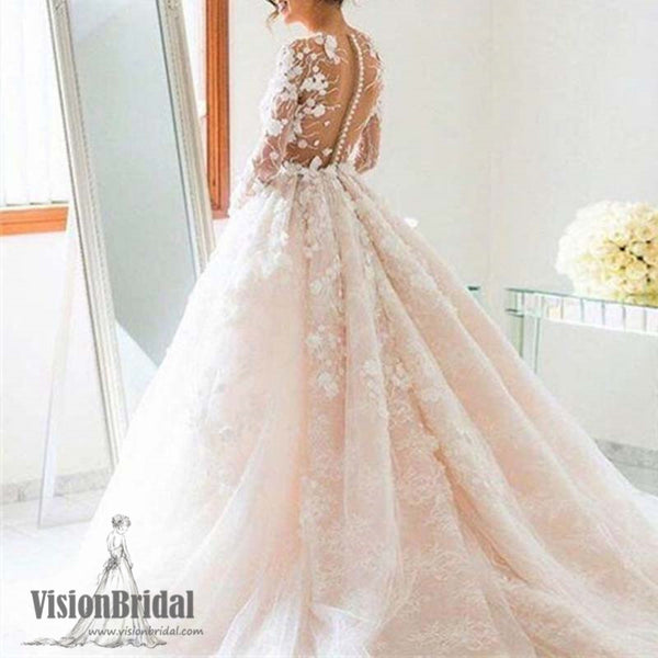 Gorgeous Scoop Neckline See Through Covered Buttons A-Line Wedding Dress With Appliques, Blush Pink Wedding Dress With Trailing, VB0923