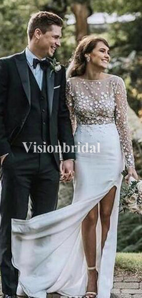 Alluring Scoop Neckline Long Sleeve Sheath Side Slit Wedding Dresses, Cheap Wedding Dresses, VB02948