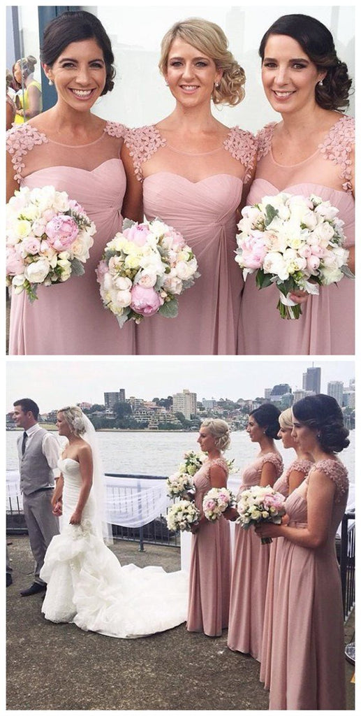 Pretty Hand Made Flowers Charming Long Formal Discount Chiffon Scoop Neck Bridesmaid Dresses for Wedding, VB0197 - Visionbridal