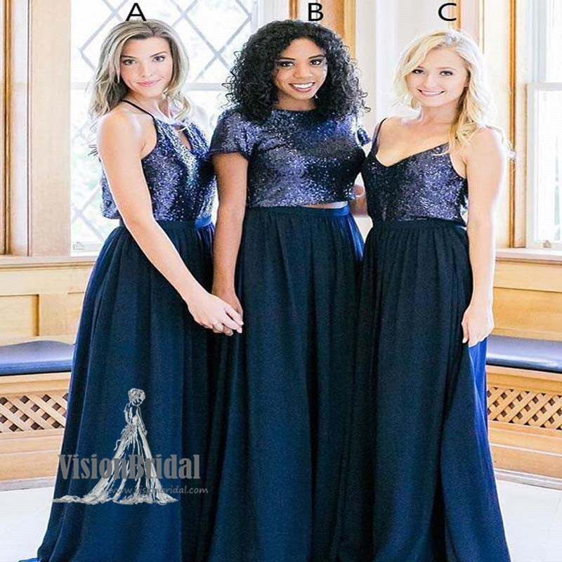 Shinny Mismatched Different Styles Sequin Top Chiffon Bridesmaid ...
