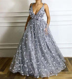 Charming Grey Spaghetti Straps Long A-Line Tulle With Appliques, Prom Dresses, VB01936