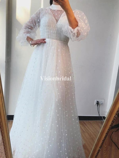 Unique Off White High Neck Long Sleeve A-Line Prom Dresses, VB03481
