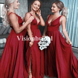 Charming Red V-Neck A-Line Jersey Bridesmaid Dresses, VB03697