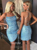 Charming Spaghetti Straps Crisscross Back Beading Mermaid Homecoming Dresses, Homecoming Dresses, VB02603