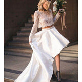 2019 Delicate Lace & Satin 2 pieces Long Sleeve A-line Wedding Dress, Wedding Dresses, VB02253