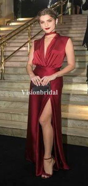 Alluring Burgundy Sleeveless Sheath Side Slit Prom Dresses, VB03280