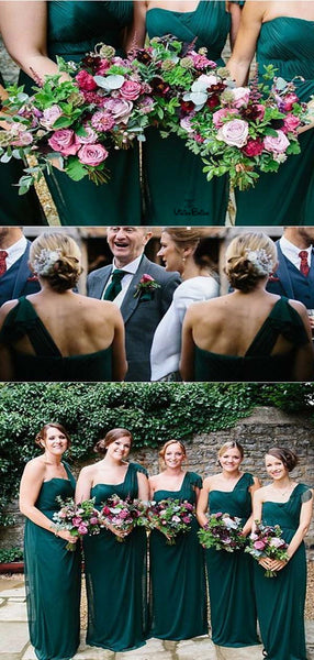 Elegant One Shoulder Dark Green Long Column Bridesmaid Dresses, Bridesmaid Dresses, VB02067