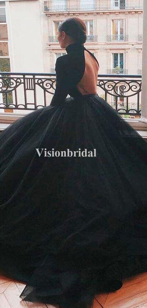 Sweet High Neck Black Open Back Ball Gown Prom Dresses, VB03357