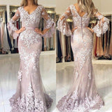 2019 Alluring Long Sleeve Covered Button Long Mermaid Prom Dresses With Appliques, Prom Dresses, VB02220