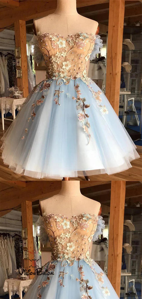 Classy Off Shoulder Homecoming Dresses With Appliques, Homecoming Dresses, VB02430