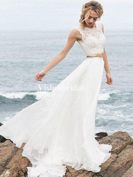 Beach Two Pieces Lace Top Covered Button Wedding Dresses, VB03361